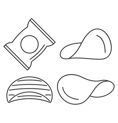 Chips icon set outline style vector