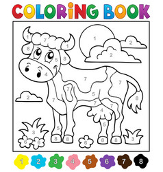 coloring book cow theme 2 vector image