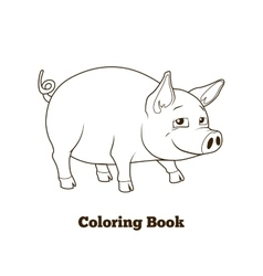 Coloring book pig cartoon educational vector image