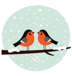 Cute bullfinch couple sitting on the branch vector image