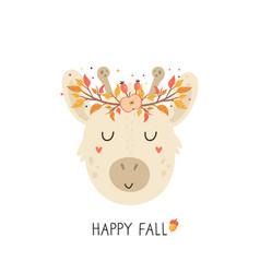 cute giraffe in autumn wreath on white background vector image