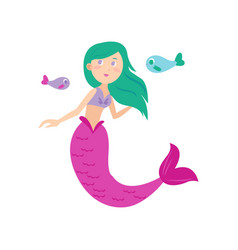 cute green hair mermaid with long pink tail vector image