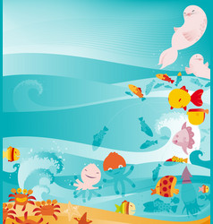 cute underwater animals background vector image