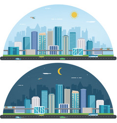 Day and night urban landscape modern city vector
