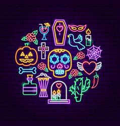 Dia de los muertos neon concept vector