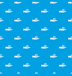 dollar in hand pattern seamless blue vector image
