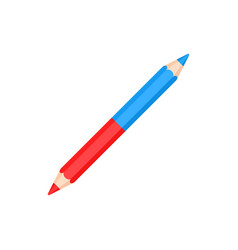double sided bicolor red and blue pencil vector image