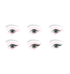 Eyes permanent tattoo makeup scheme tutorial step vector