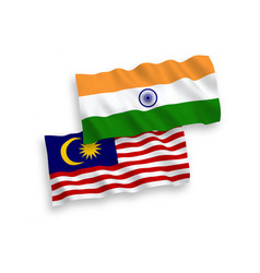 Flags india and malaysia on a white background vector