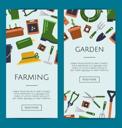 flat gardening icons web banner templates vector image