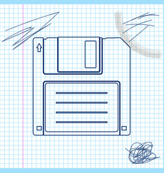 floppy disk for computer data storage line sketch vector image