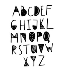funny childish made with ink alphabet vector image