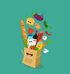funny various cartoon vegetables clip art vector image