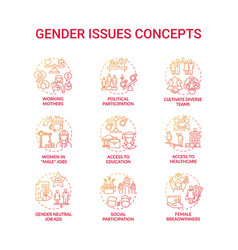Gender issues concept icons set vector