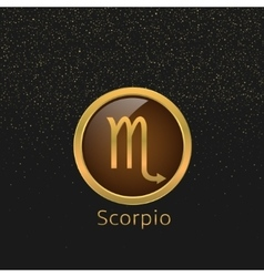 Golden Scorpio sign vector