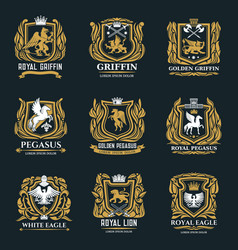 Griffin eagle and pegasus golden heraldic icons vector