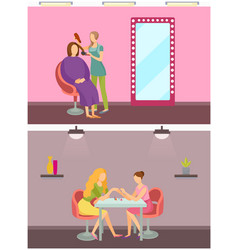 Hair styling hairdresser and manicurist set vector