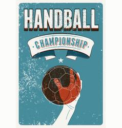 Handball championship vintage grunge style poster vector