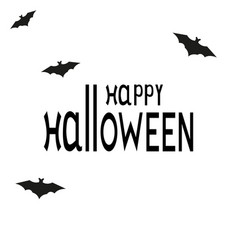 happy halloween text logo cartoon vampire and bats vector image