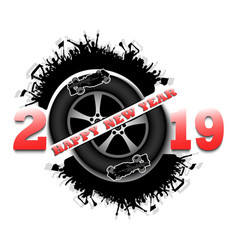 Happy new year 2019 and car wheel vector
