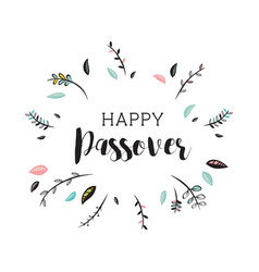 happy passover card with floral decoration vector image