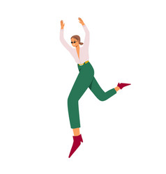 Happy young woman jumping for fun and joy feeling vector