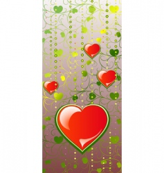 Hearts on color patten background vector