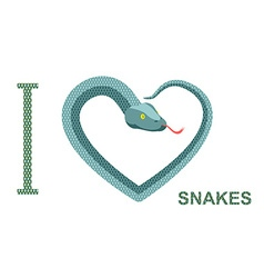 I love snakes Symbol of heart of snake Python vector image