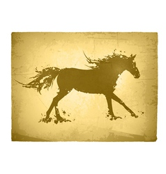 Ink Splashes Horse At Vintage Paper vector image