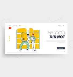 Inventory storehouse distribution landing page vector