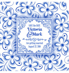 Invitation card in russian painting style gzhel vector