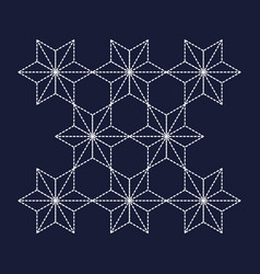 japanese pattern sashiko star background vector image