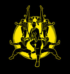 Kung fu action composition vector