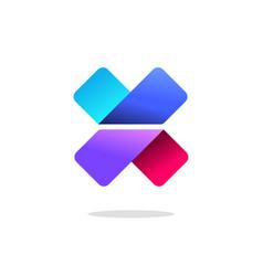 letter x or v logo sign gradient colorful vector image