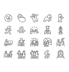 life cycle line icon set vector image