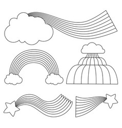 Line black and white rainbows with clouds and vector