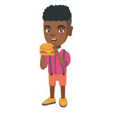 little african-american boy eating a hamburger vector image