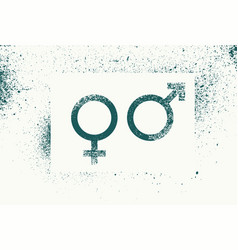 male and female gender grunge splash style signs vector image