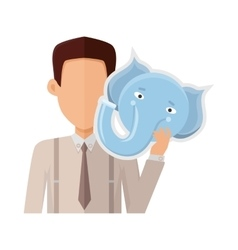 Man with Elephant Mask Flat Design vector