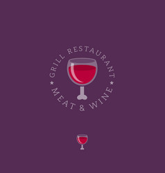 Meat and wine logo grill restaurant vector