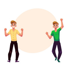 men boys guys friends rejoicing cheering vector image