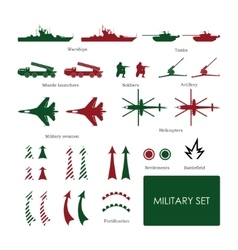 Military set for tactical map with detailed icons vector