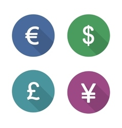 Money symbols flat design icons set vector image