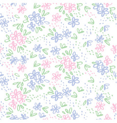 Naive sketch meadow flowers seamless pattern vector
