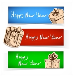 New year celebration banner or header set vector