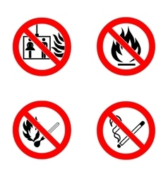 No smoking No open flame no matches no lift vector image vector image