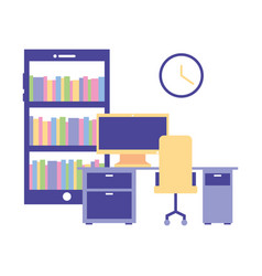 office workplace equipment vector image