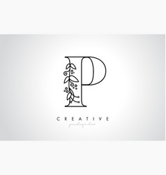 p letter logo with organic monogram plant leafs vector image