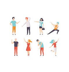people pointing their finger in different vector image