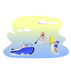 people summertime water sport activity surfing vector image